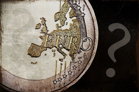 batch of euro: Euro coin with a big question mark Stock Photo