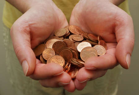 batch of euro: Money in woman hands Stock Photo