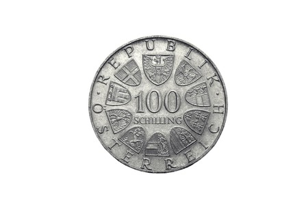 shilling: 100 Austrian schillings on a white background