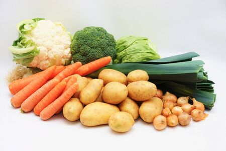 fruity salad: Fresh organic vegetables on white background