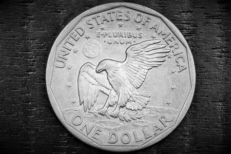 dinero falso: Un dólar en un fondo negro