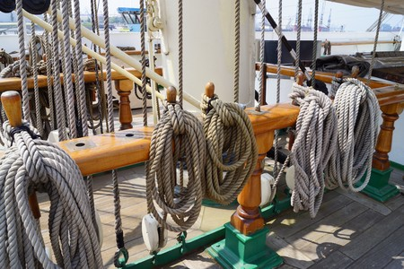 cordage: Cordage on a sailing ship Stock Photo