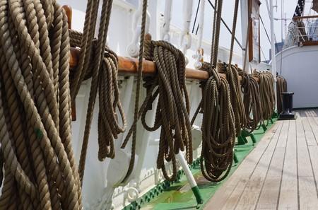 cordage: Cordage on a sailing ship Stock Photo