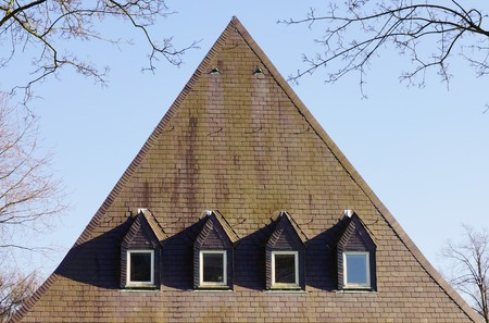 pitched roof: Large slate roof Stock Photo