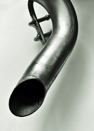 exhaust pipe: Exhaust pipe of a car on a white background