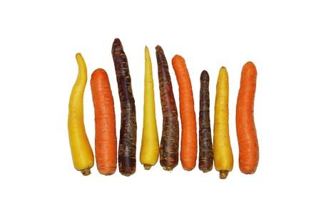 Various fresh carrot varieties on white background Stock Photo