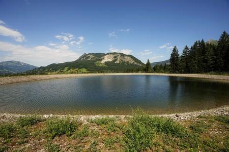 The Einstein mountain in the Allg�u Alps, Tyrol Austria with storage pond