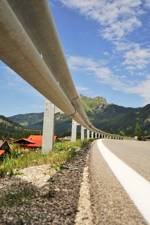 Road in the Tyrolean Alps in the direction of the Mount Aggenstein