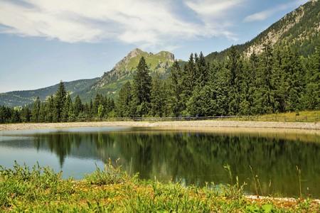 Alpine landscape with storage pond in summer