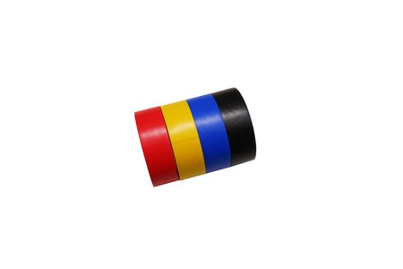 Colored insulating tapes isolated on white background Stockfoto