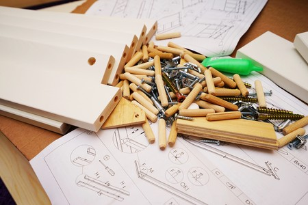 Many different bits and pieces to build a bed Stock Photo