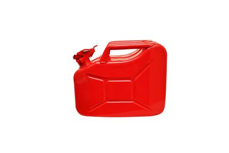 New red jerrycan isolated on white background Stock Photo