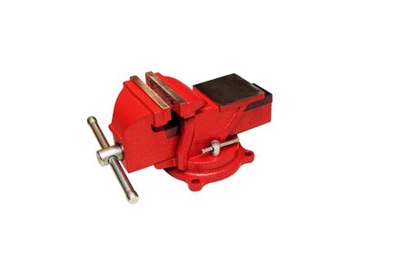 Red bench vise isolated on white background Stock Photo