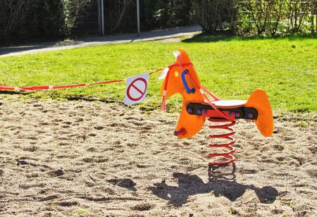 Cordoned off playground due to the coronavirus pandemic March 2020
