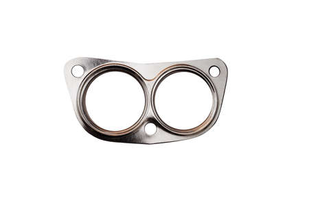 New gasket for a car exhaust on a white background