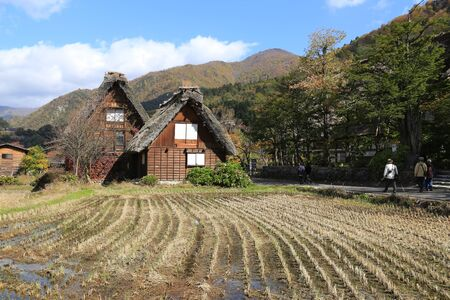 gassho zukuri: Gassho Zukuri styled house with field in Shirakawago, Japan