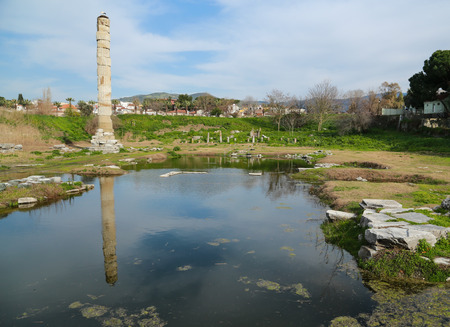 An only remained greek column at site of temple of Artemis,Selcuk, Turkey