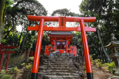 Small  red shrine on the top of the mountain of Yutoku inari shrine