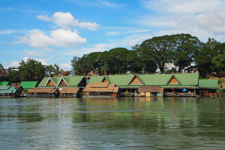 View from river of riverside market in Vientiane, Laos Imagens