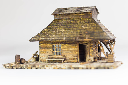 Western ghost town railway station made of matchsticks, front view 스톡 콘텐츠