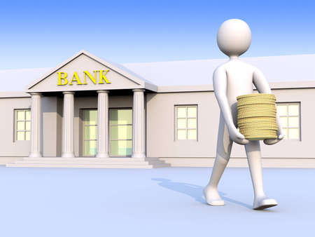 going out: A man going out of a bank with coins