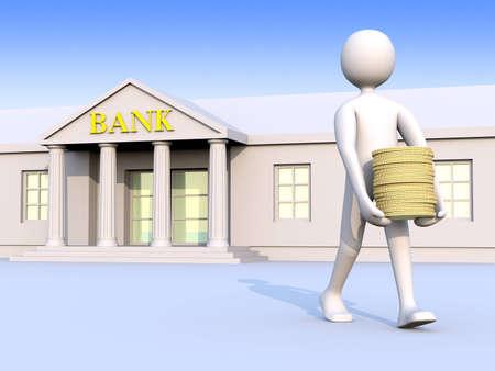 autonomia: Un hombre salir de un banco con monedas