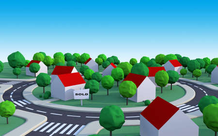 suburbian: housing estate in the suburbs with sold house and space to add text