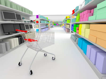 shopping cart standing between shelves in the supermarket Stock Photo - 1447815