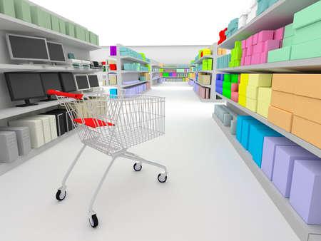 between: shopping cart standing between shelves in the supermarket Stock Photo