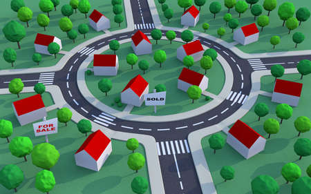 suburbian: Housing estate in the suburbs among trees with sold and for sale signs Stock Photo