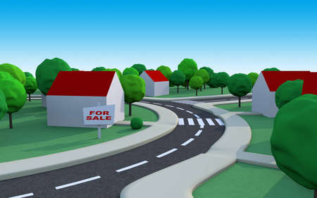 suburbian: housing estate somewhere in the suburbs with a house for sale and space to add text