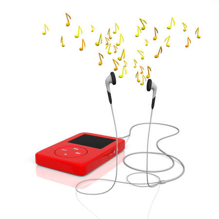 earbuds: mp3 player with earphones and notes flying over them