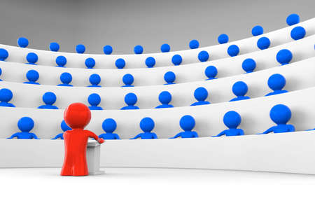 seating: red man standing by a lectern facing an audience of blue characters sitting in five levels of tiered seating; shiny characters version; 3d rendering