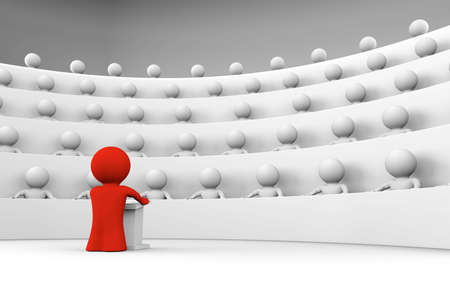 lectures: red man standing by a lectern facing an audience of white characters sitting in five levels of tiered seating; 3d rendering Stock Photo