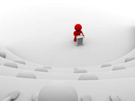 theater seats: red character standing by a lectern facing an audience of white characters sitting in five levels of tiered seating; view from one of the seats; 3d rendering Stock Photo
