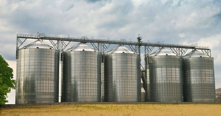 silo: Five, made of steel, storage tanks in a ethanol factory Stock Photo