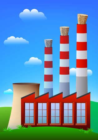 powerplant: Fabrieks- of elektriciteits centrale schoor stenen geblokkeerd door wijn kurk.  Stock Illustratie
