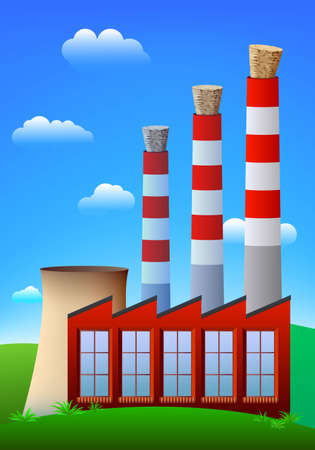 polluting: Factory or power plant chimneys blocked by wine cork.  Illustration