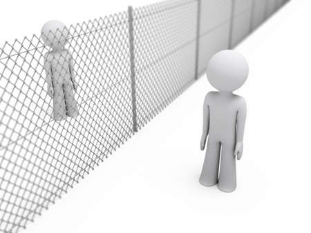 prisoner man: two people separated by a wire mesh fence; 3d rendering