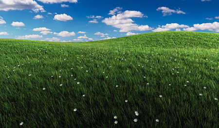 rolling: Rendered illustration of rolling green grassland with small flowers and a blue cloudy sky. Stock Photo