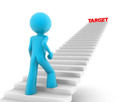 upstairs: 3d rendered red man walks upstairs; stairs with a target word on the top Stock Photo