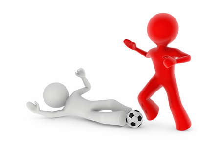 soccer players; white player trying to take-over the ball from the red one by sliding on the groung photo