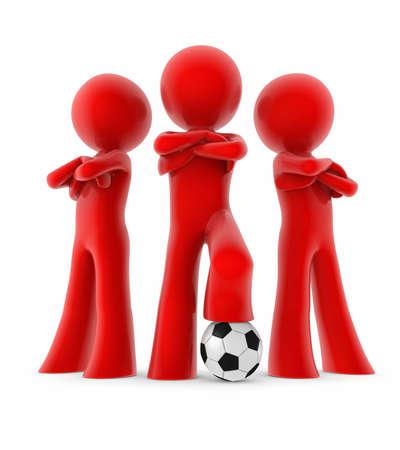 세 축구 선수와 공; 그들의 팔을 든 남자들은 엇갈 렸다. 미니 팀