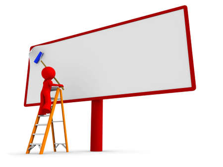 billboard blank: Man standing on a ladder, putting a new, blank poster to a billboard. Clipping path cutting the worker with a ladder.