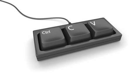 Computer toetsenbord met slechts drie toetsen, ctrl, C en V voor kopiëren en plakken Stockfoto