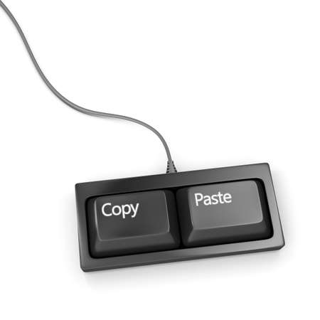 reproducing: Keyboard with two buttons, copy and paste  Stock Photo