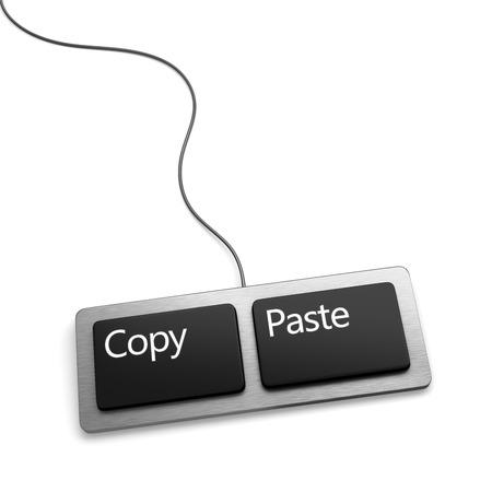 reproductive technology: Teclado con dos botones, copiar y pegar. Nueva versi�n plana.