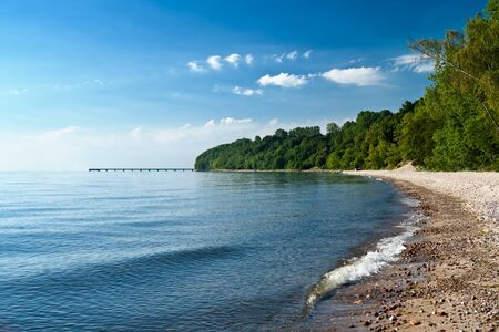windless: Empty beach in the early morning. Gdynia. Poland