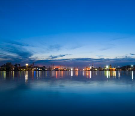 dark skies: Sea port after the sunset Skyline.