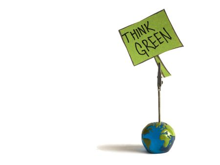 think green note Stock Photo